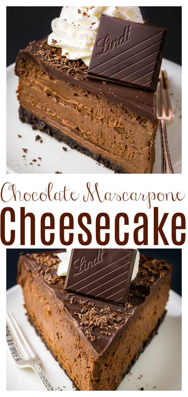 Rich and creamy Chocolate Mascarpone Cheesecake! This decadent chocolate cheesecake features a chocolate cookie crust, a creamy chocolate mascarpone filling, and a chocolate ganache topping! Death by chocolate cheesecake anyone?!