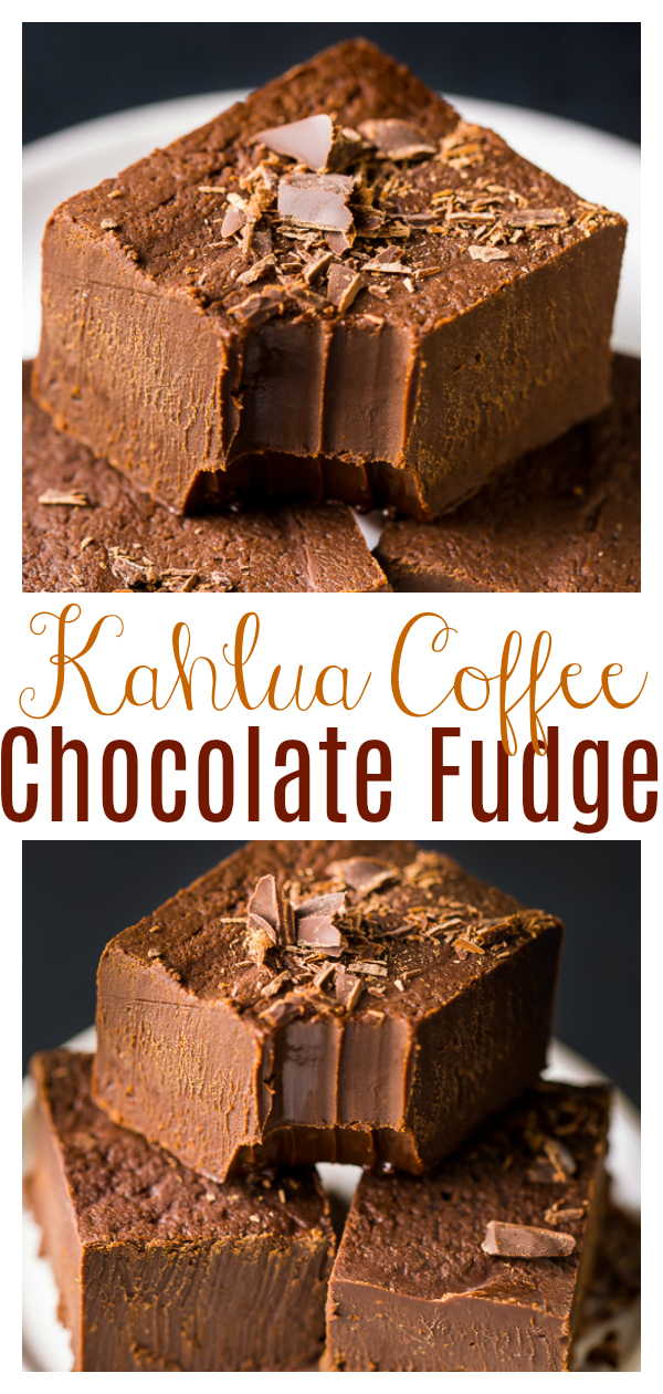 Super EASY Creamy Kahlua Chocolate Fudge! This creamy and decadent homemade candy makes a great holiday gift! If you love chocolate fudge and Kahlua, you'll love this recipe!