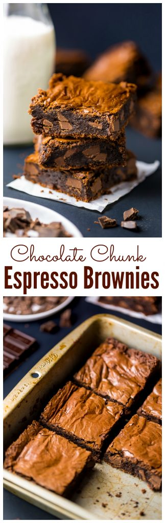 Thick and FUDGY Espresso Chocolate Chunk Brownies! Bake these now ;)