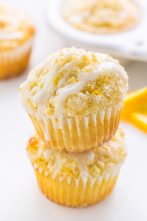 Supremely moist Lemon Crumb Muffins topped with sticky Lemon Glaze!
