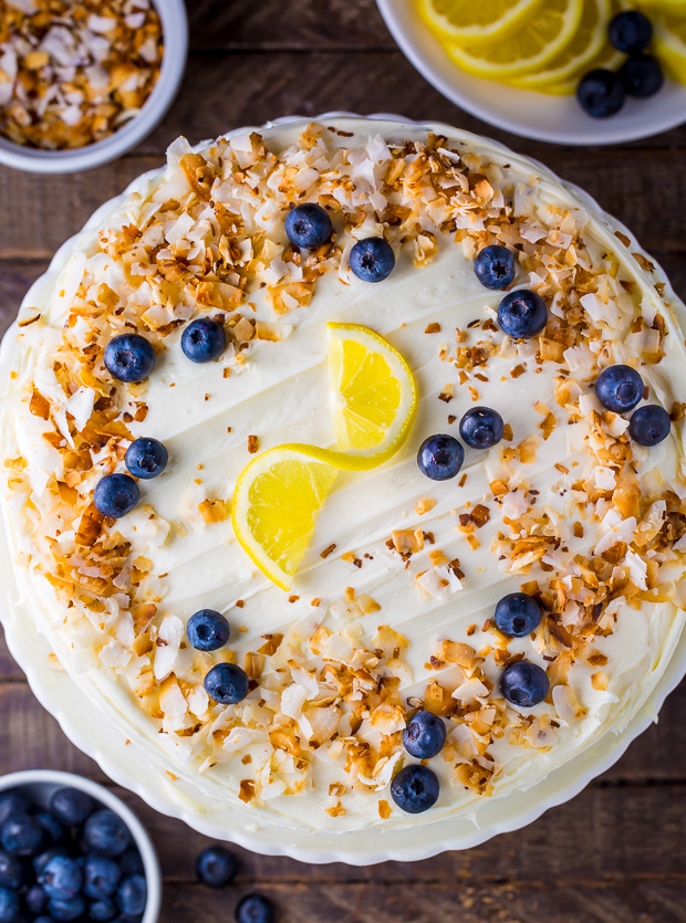 This luscious Lemon Coconut Blueberry Cake is bursting with flavor and beauty!