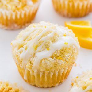 Supremely moist Lemon Crumb Muffins topped with sticky Lemon Glaze!