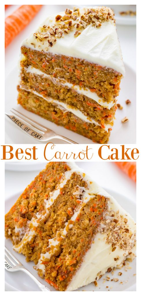 My FAVORITE Carrot Cake recipe is extremely moist, fluffy, and flavorful.