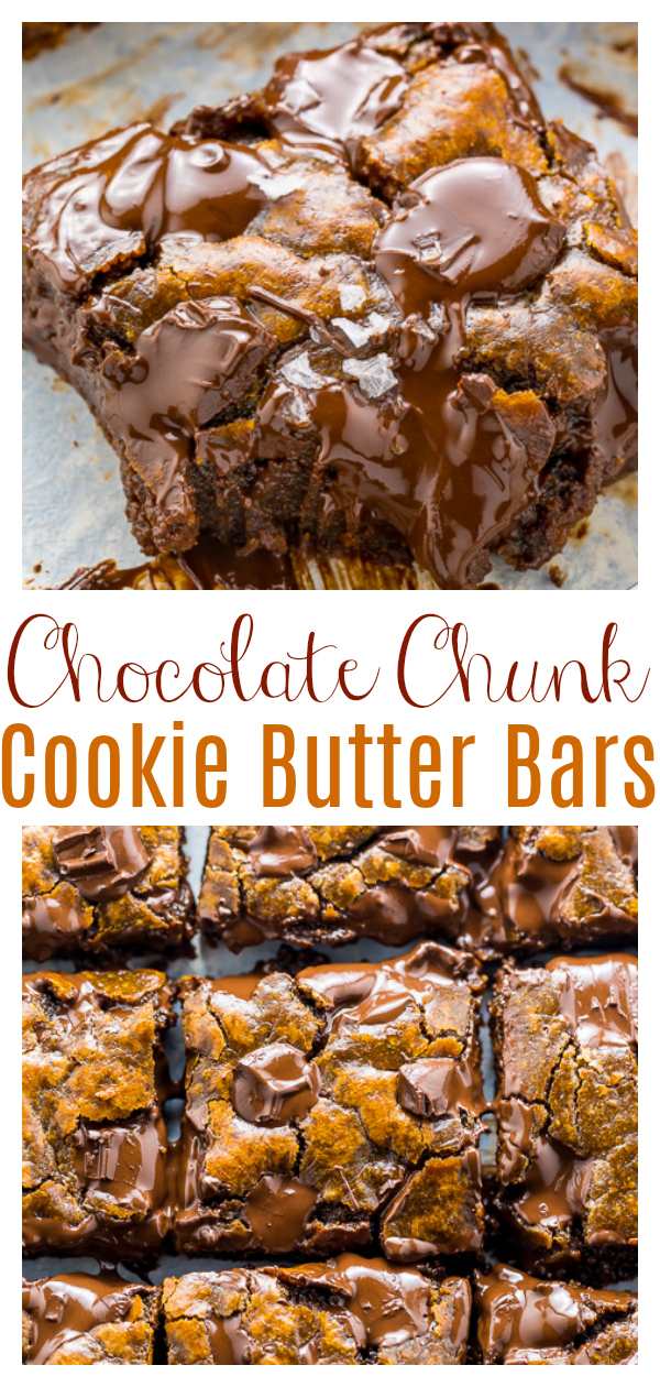Extra GOOEY Chocolate Chunk Cookie Butter Bars! Aka what to do with that random jar of cookie butter you have in your pantry. These are super gooey and loaded with flavor!