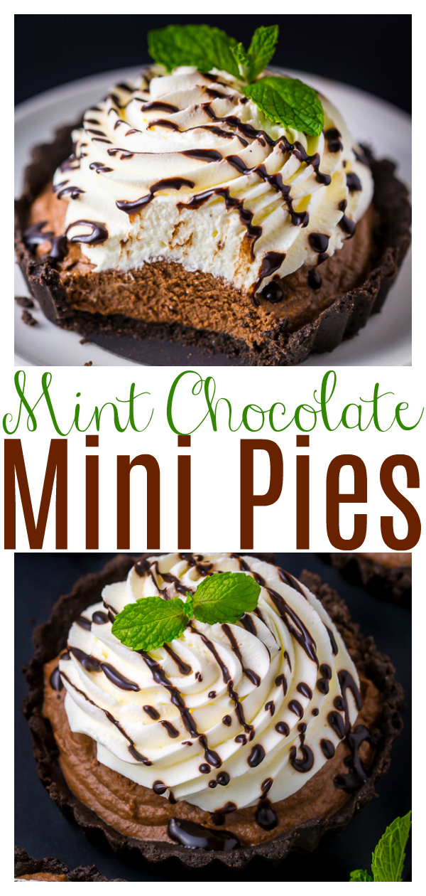 Adorable and absolutely delicious No-Bake Mini Mint Chocolate Cream Pies! These are perfect for days it's too hot to bake! If you love the combination of mint and chocolate, try these today!