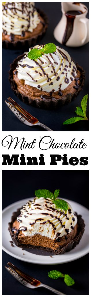 Adorable and absolutely delicious Mini Mint Chocolate Cream Pies! These little cuties are winners all around.