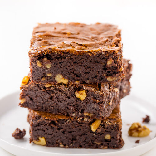 Thick and ULTRA fudgy, these Brown Butter Walnut Brownies are a GAME CHANGER!
