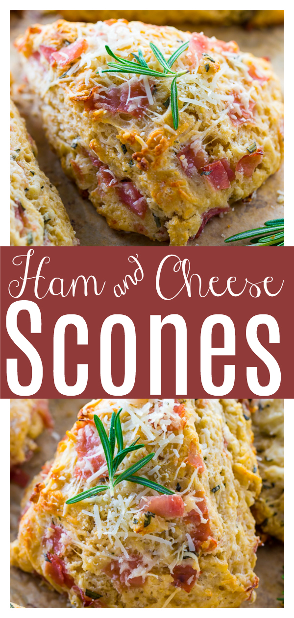 Rosemary, Parmesan, and Ham Scones are perfect for breakfast or brunch! A great recipe if you have extra ham and cheese you need to use up... or an abundance of rosemary! Everyone loves these savory scones!