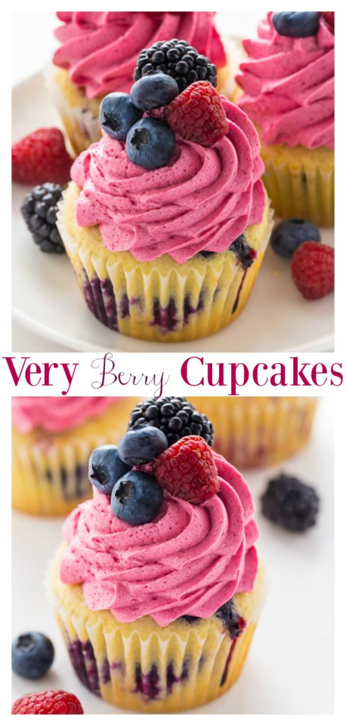 Calling all berry lovers!!! These Triple Berry Cupcakes are moist, fluffy, and bursting with fresh fruit in every bite. These Mixed Berry Cupcakes are a great Summer recipe!