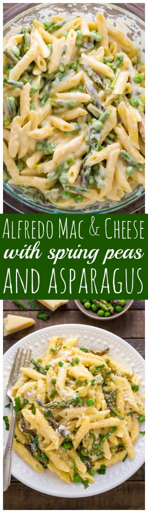 Creamy Alfredo Mac and Cheese loaded with Spring Peas and Asparagus! YUM.