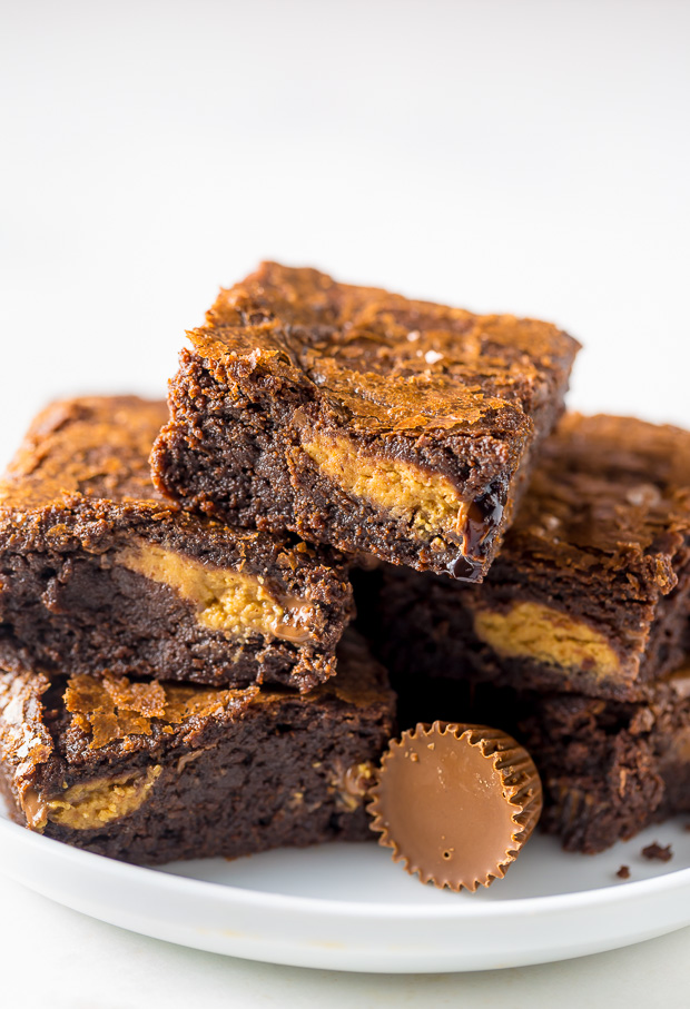 Rich and FUDGY Peanut Butter Cup Brownies!