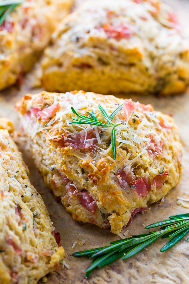 Savory Scones loaded with Parmesan cheese, Ham, and Rosemary! YUM.