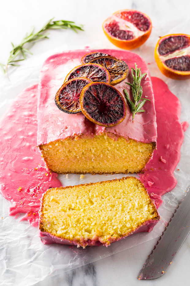 This STUNNING Blood Orange Pound Cake is moist, flavorful, and covered in a vibrant blood orange glaze.