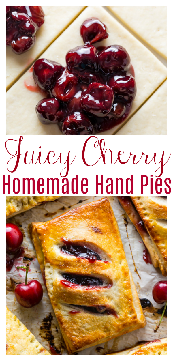 Homemade Cherry Hand Pies have flaky crust and juicy filling! The perfect cherry pie recipe for Summer parties and barbecues!