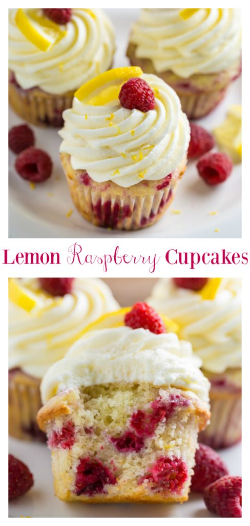These Lemon Raspberry Cupcakes are light, moist, and sunshiny sweet! Topped with lemon cream cheese frosting, lemon slices, lemon zest, and fresh raspberries, they're the perfect Summer dessert. A must try for lemon lovers!