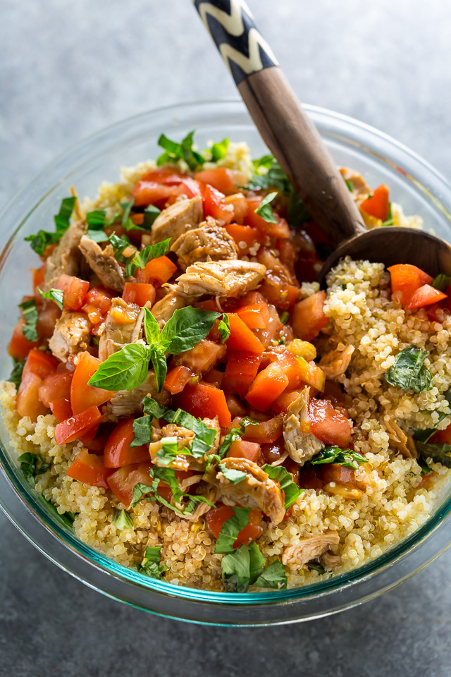 This 20-Minute Chicken Bruschetta Quinoa Salad is the perfect Summer meal!