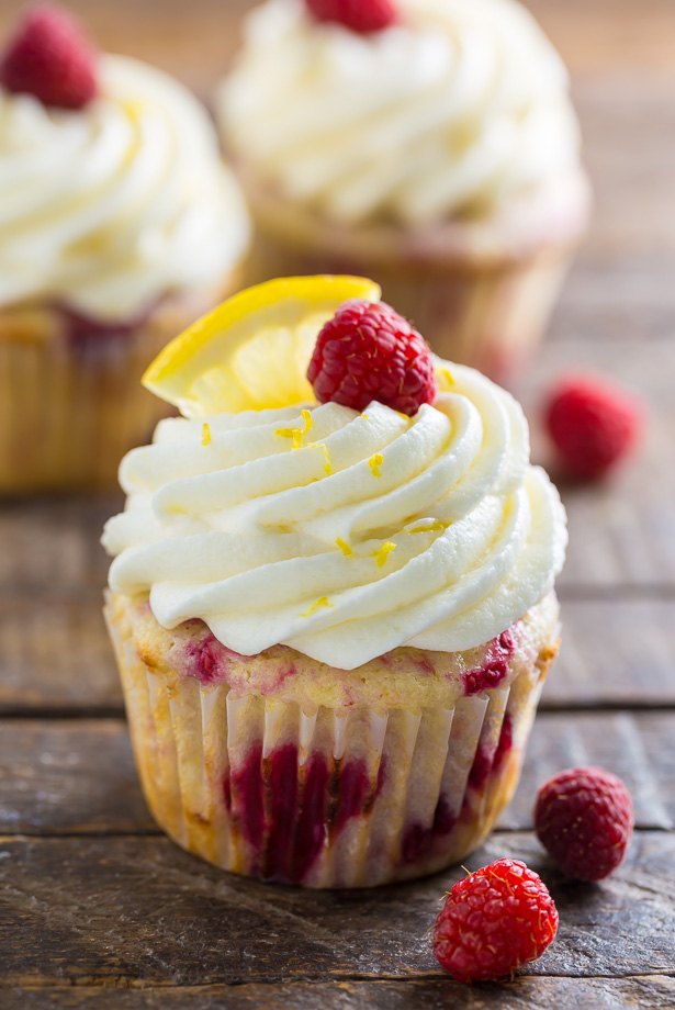 Lemon Raspberry Cupcakes with Lemon Cream Cheese Frosting