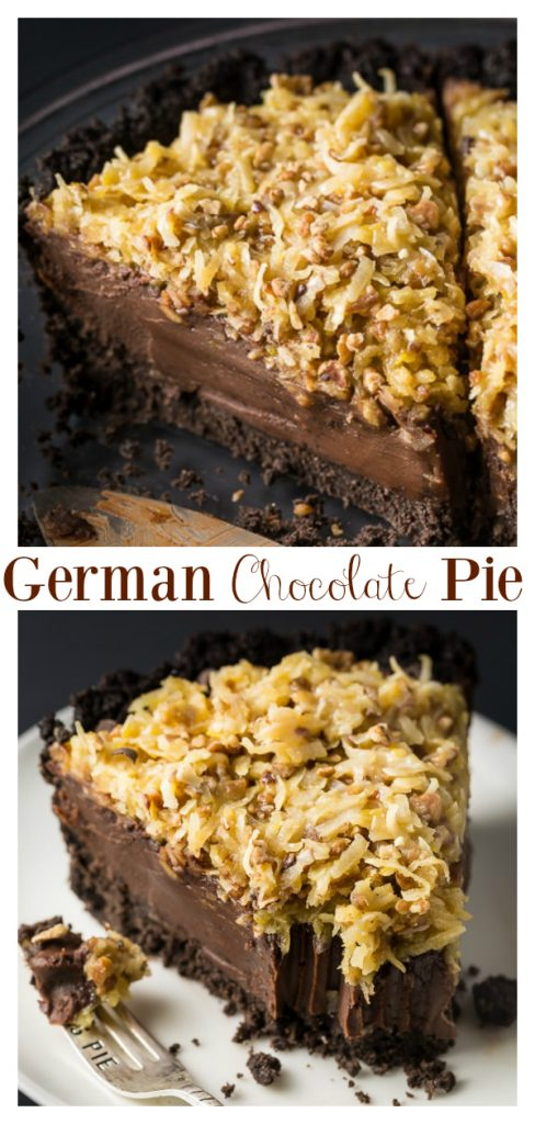 An easy and indulgent No-Bake German Chocolate Pie Recipe! Featuring a chocolate cookie crust, decadent chocolate filling, and coconut pecan topping, this sinfully sweet pie is always a hit! Perfect for those days it's too hot to bake!