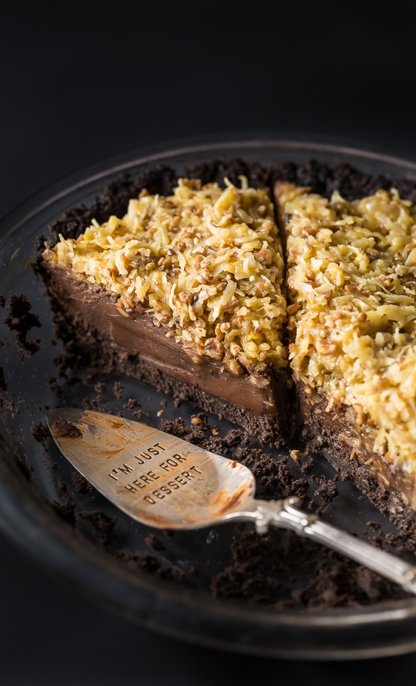 An easy and indulgent recipe for No-Bake German Chocolate Pie!