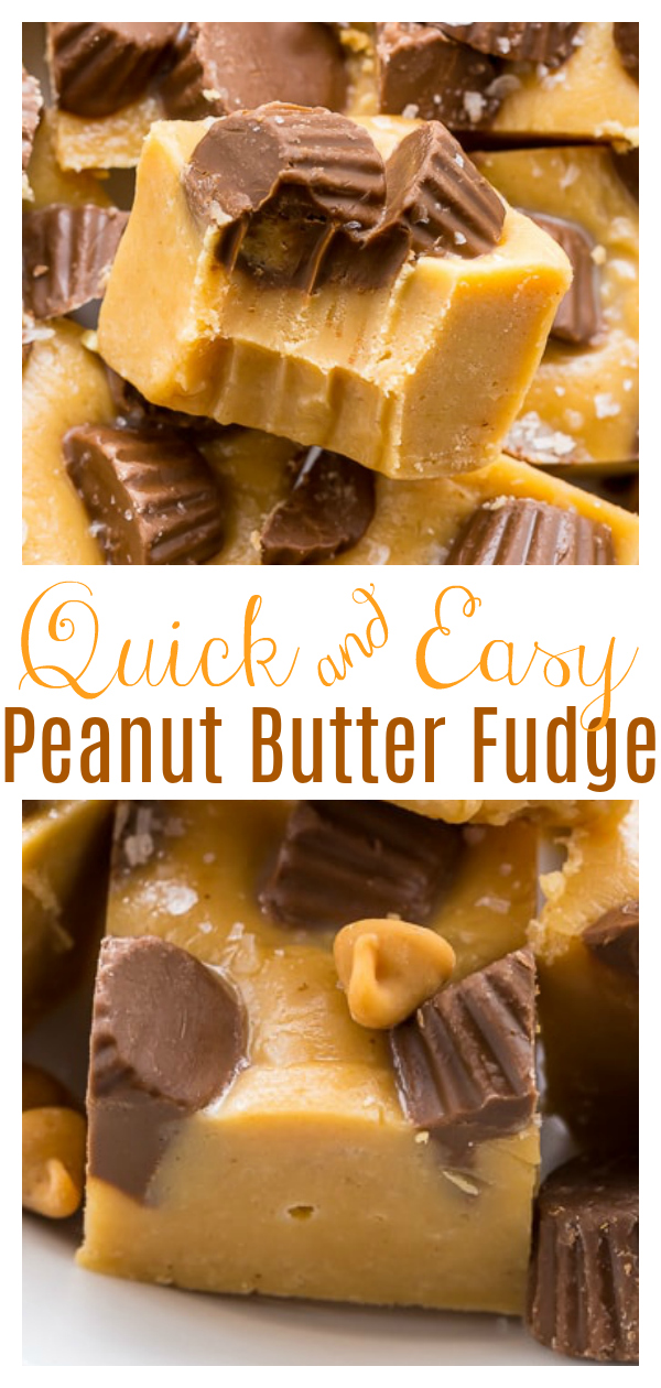 With the holiday season right around the corner, this foolproof recipe for easy peanut butter fudge is sure to become your new best friend! Made with just 6 simple ingredients, this make a great gift for the peanut butter lover in your life! Top with mini peanut butter cups for extra pizzaz!