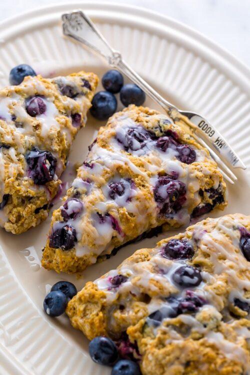 An easy recipe for The BEST Vegan Blueberry Banana Scones!