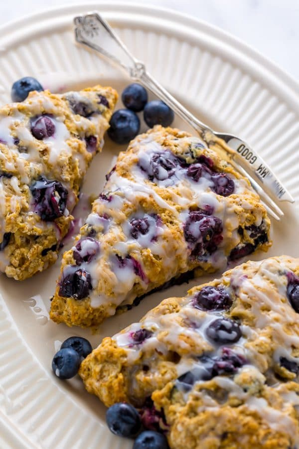 An easy recipe for The BEST Vegan Blueberry Banana Scones!