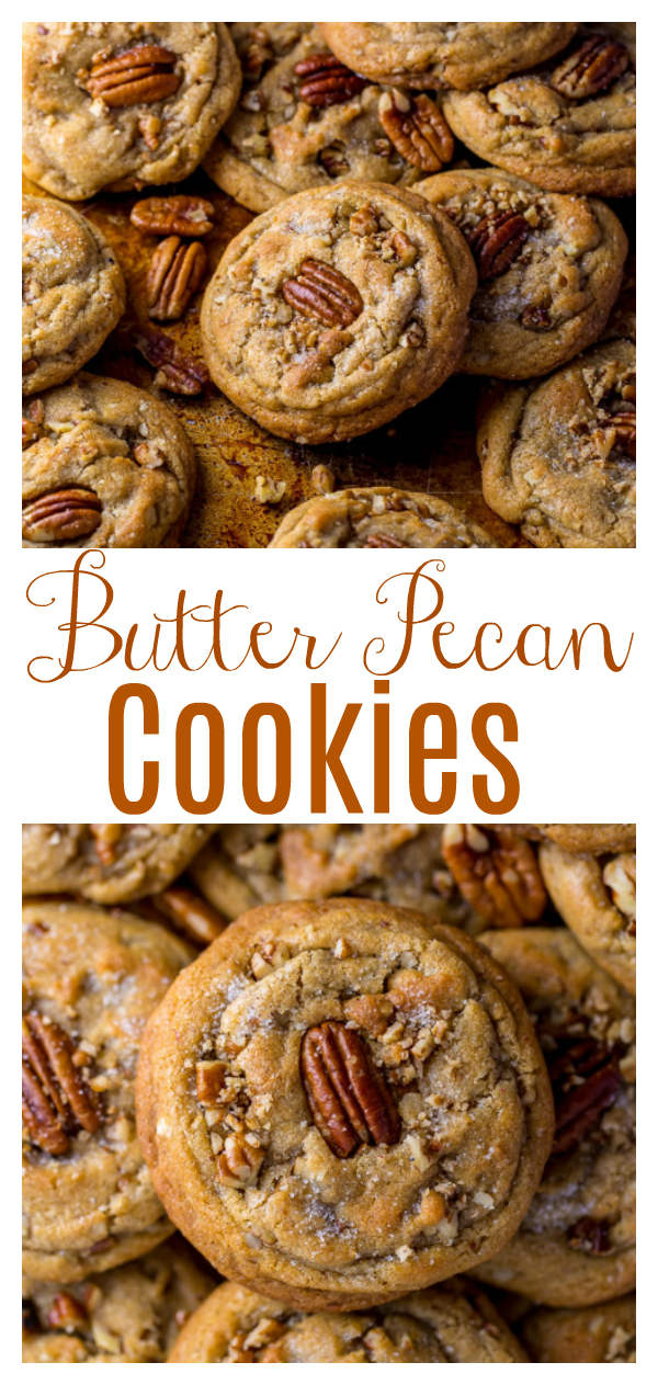 Thick, chewy, and insanely delicious Butter Pecan Cookies! Made with brown butter, brown sugar, and plenty of toasted butter pecans, these cookies are so flavorful. A must bake cookie recipe for the holiday season!