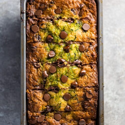 An easy recipe for Chocolate Chip Zucchini Bread and Muffins! And don't worry, they don't taste one bit vegan!