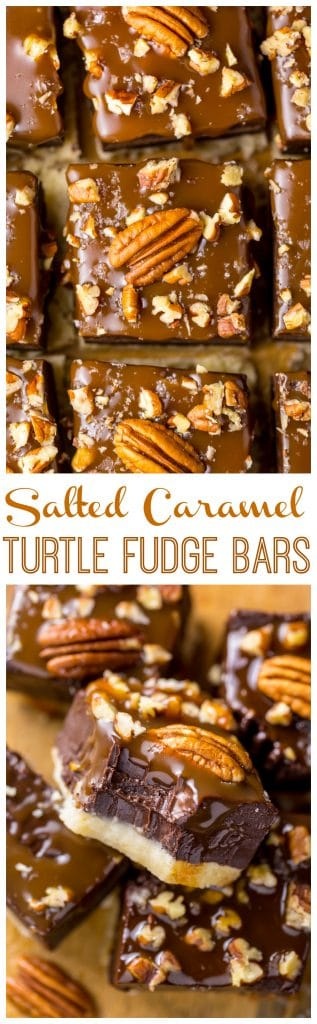 These Salted Caramel Turtle Fudge Bars are crunchy, creamy, and chewy! And the best part is they're so easy to make.
