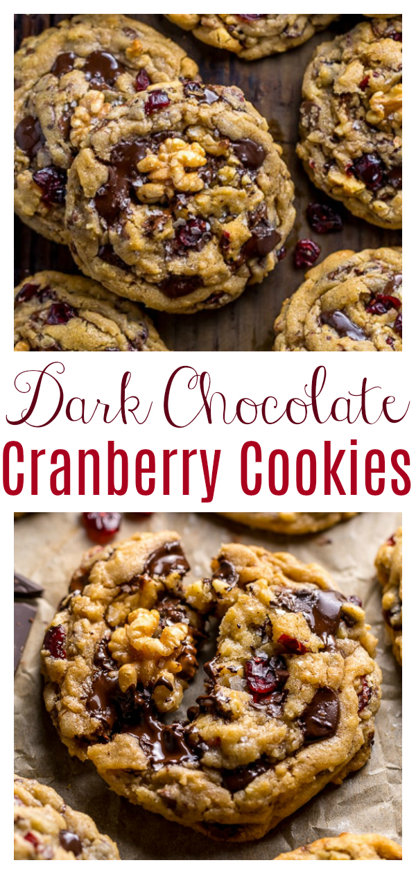 These Dark Chocolate Cranberry Walnut Cookies are thick, chewy, and freezer friendly! Loaded with dried cranberries, crunchy walnuts, gooey chocolate chips, and just a touch of cinnamon. They're sure to be the star of any holiday cookie tray!