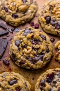 These Dark Chocolate Cranberry Walnut Cookies are thick, chewy, and freezer friendly!