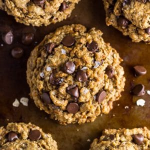 Thick and chewy Vegan Oatmeal Chocolate Chip Cookies!