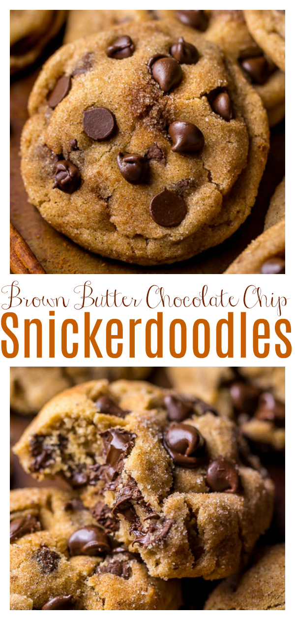 Thick and chewy, these Brown Butter Chocolate Chip Snickerdoodles are the ultimate holiday cookie!
