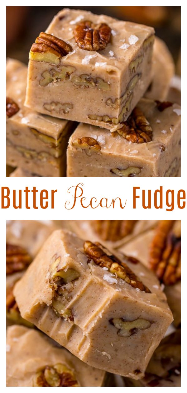 Butter Pecan Fudge made with just 6 ingredients! This creamy pecan fudge is loaded with crunchy pecans and flavored with a pinch of cinnamon. Makes great a great gift during the holiday season!