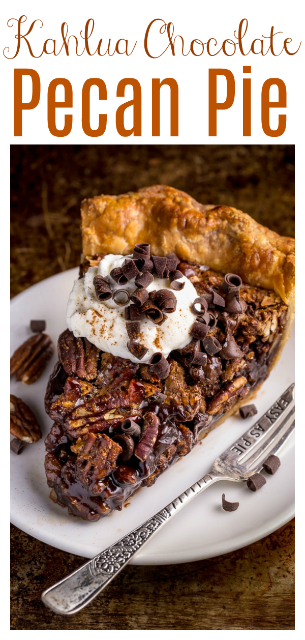 It's not Thanksgiving in our house without this Chocolate Pecan Pie! Featuring an all-butter crust, toasted pecans, chocolate chips, and a dash of Kahlua, it's insanely flavorful! And the perfect pecan pie for any chocolate lover!