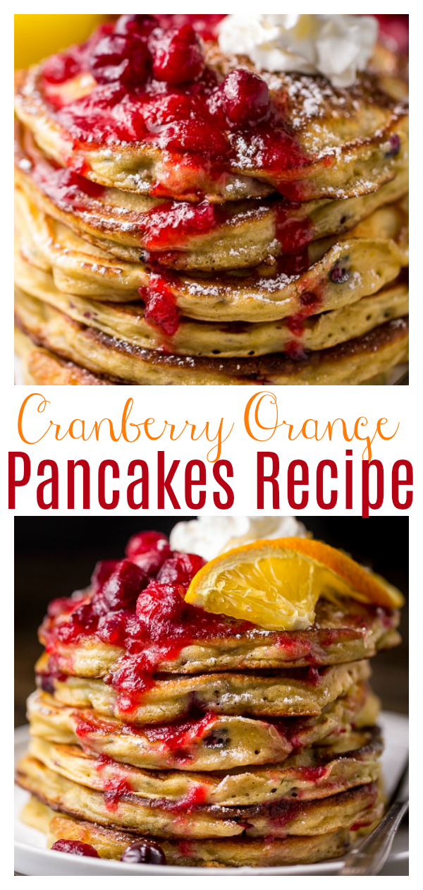 Fluffy and flavorful Cranberry Orange Pancakes are topped with Maple Cranberry Syrup! The perfect breakfast for Christmas morning!