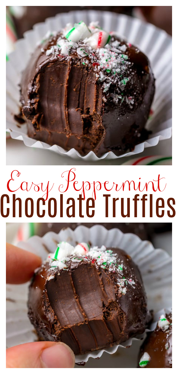 Rich and Creamy Peppermint Chocolate Truffles are made with just 5 simple ingredients! These homemade truffles are so easy and perfect for homemade holiday gifts! Use dark chocolate or white chocolate!
