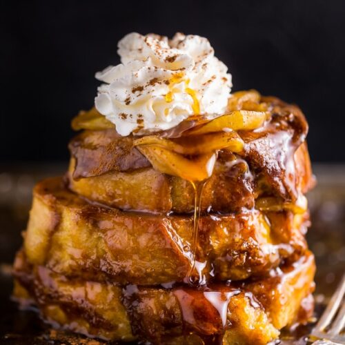 This decadent Apple Pie French Toast is always a crowd-pleaser! And it's SO much easier than baking a real apple pie.