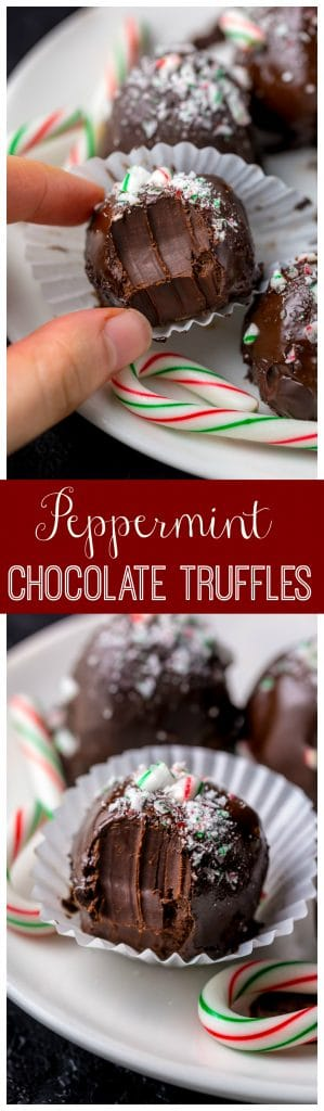 Rich and Creamy Peppermint Chocolate Truffles are made with just 5 simple ingredients! So easy and perfect for homemade holiday gifts!