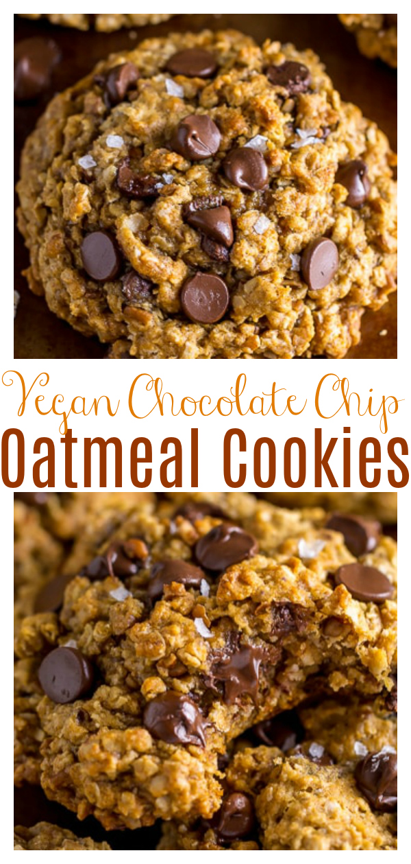 My Vegan Oatmeal Chocolate Chip Cookies are thick, chewy, and spiced with flavorful cinnamon, nutmeg, and molasses! A delicious holiday cookie recipe anyone can enjoy!