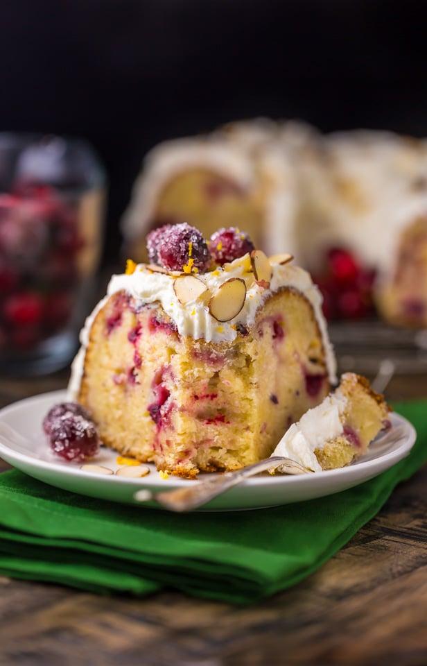 Cranberry Christmas Cake.White Chocolate Cranberry Bundt Cake