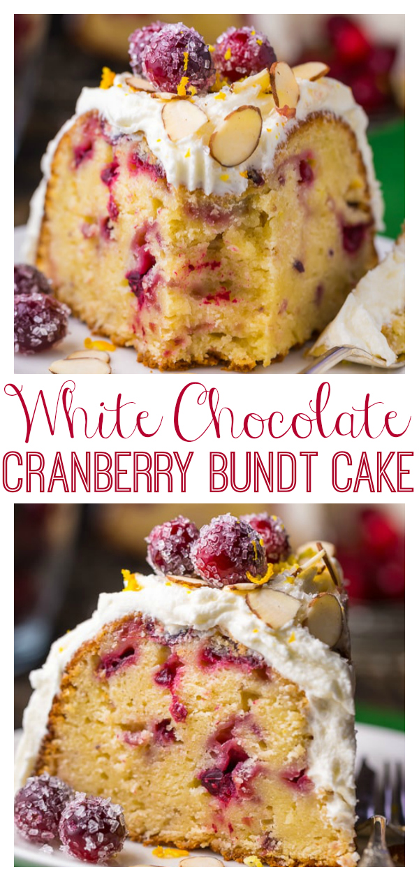 This White Chocolate Cranberry Bundt Cake is so festive and perfect for celebrating the holiday season! Top with sugared cranberries and fresh orange zest for a stunning presentation! Stays fresh for up to 5 days!