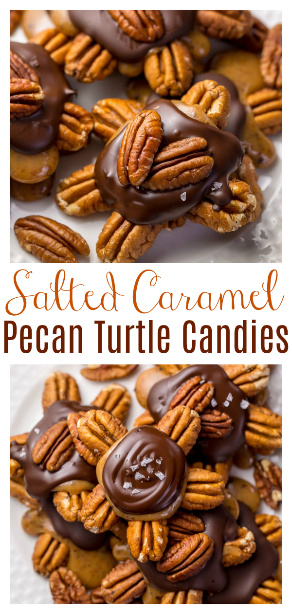 Dark Chocolate Salted Caramel Pecan Turtles are crunchy, creamy, and of course... chocolatey! This simple treat is fun to make and will make any cookie platter extra special! Homemade Turtle Candies are a must make this holiday season!
