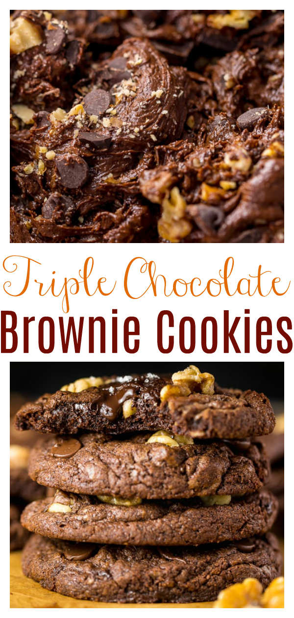 These Triple Chocolate Brownie Cookies are SO decadent! Soft, fudgy, and sprinkled with crunchy walnuts, it's just like eating a brownie, but in a cookie form. This brownie cookie recipe is always a hit with chocolate lovers!