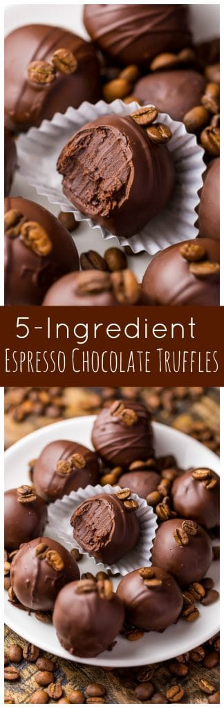 Rich, creamy, and caffeinated, these 5-Ingredient Espresso Chocolate Truffles are a coffee lovers dream come true! Bonus: they're so easy!