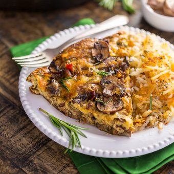 Mushroom, Bacon, and Swiss Frittata