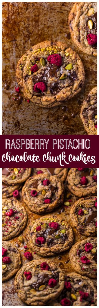 These Raspberry Pistachio Chocolate Chunk Cookies are thick, chewy, and so flavorful! Bonus: they're super pretty, too!