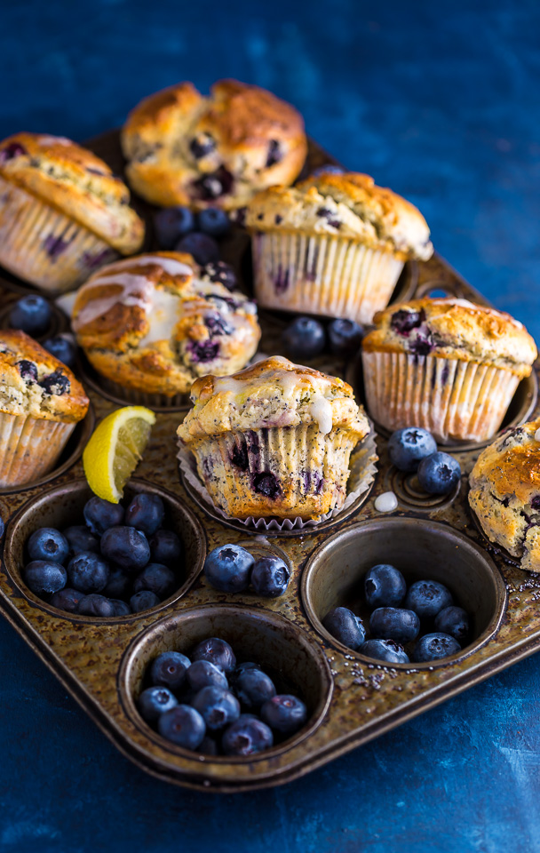 These BIG bakery-style Blueberry Lemon Poppy Seed Muffins are so darn good! Especially with a cup of coffee.