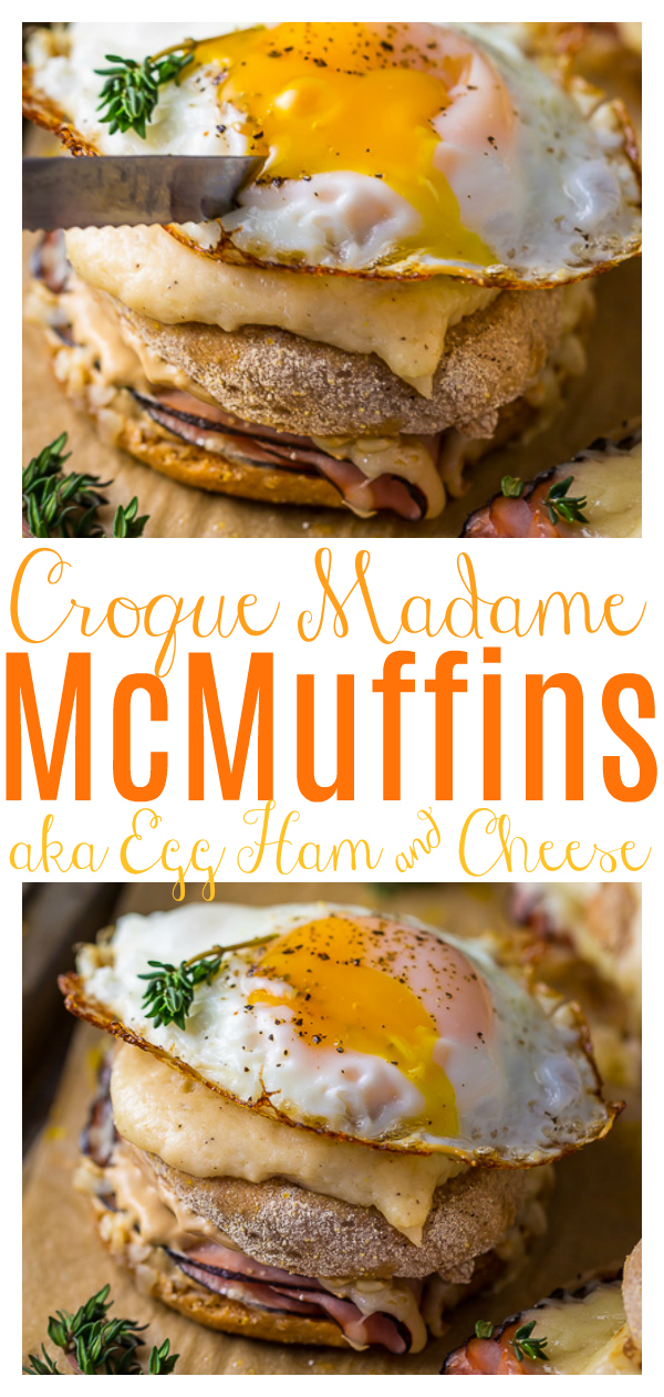 Croque Madame McMuffins... AKA the ultimate ham and cheese sandwich. This delicious French inspired recipe is made with ham, Gruyere, béchamel, and a fried egg. Perfect for breakfast or brunch!