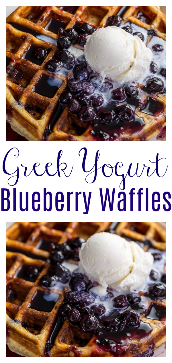 Homemade Greek Yogurt Blueberry Waffles topped with Fresh Blueberry Sauce. Fluffy, crispy, phenomenal. The perfect waffle recipe for special breakfast and brunch at home occasions!